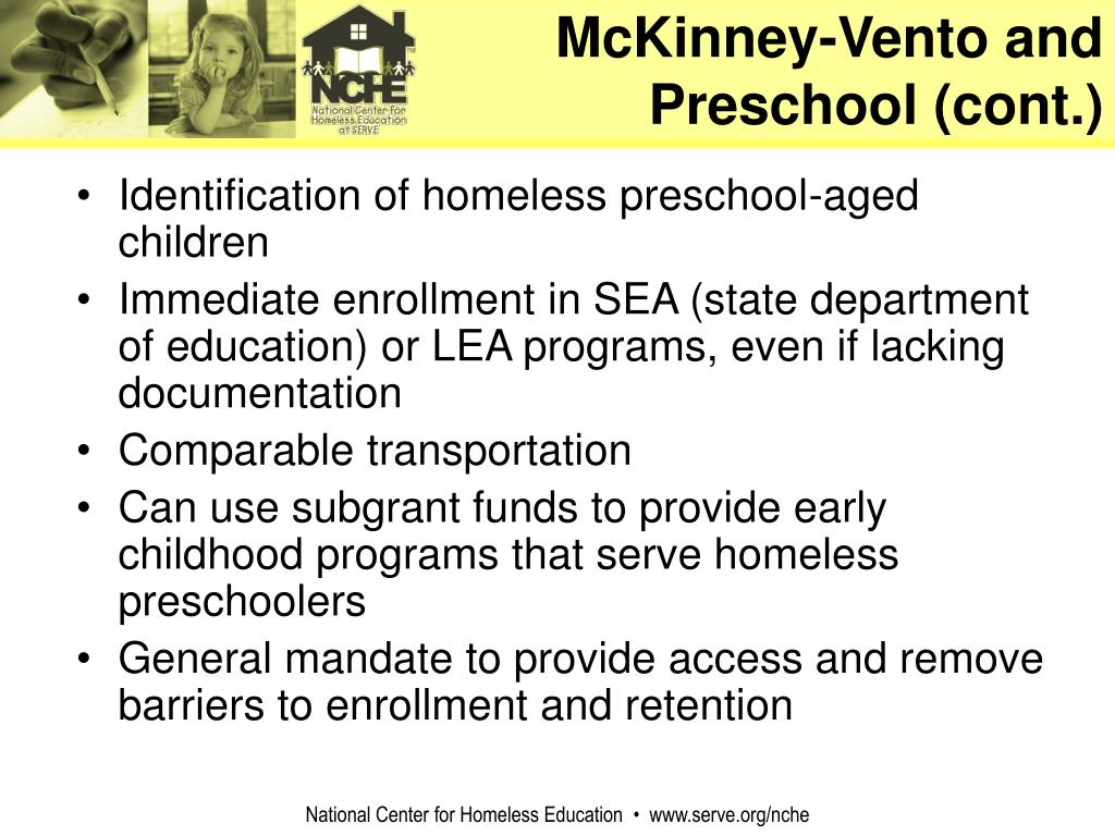 McKinney-Vento and Preschool (cont.)