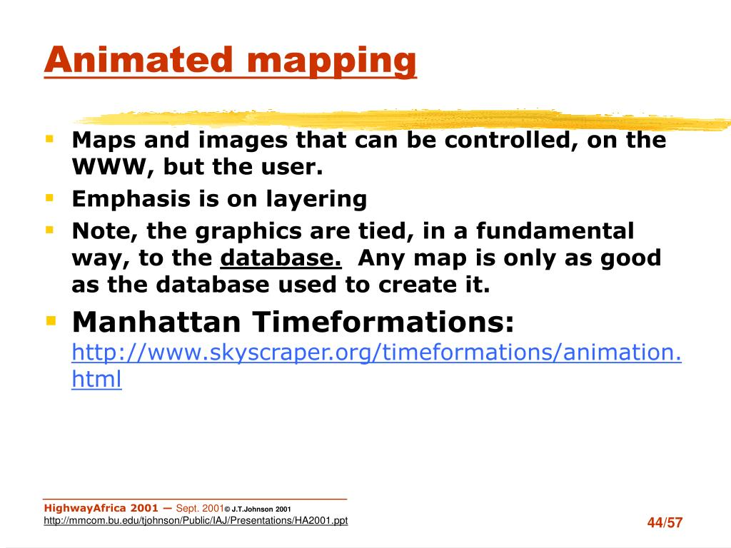 Animated mapping