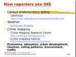 how reporters use gis