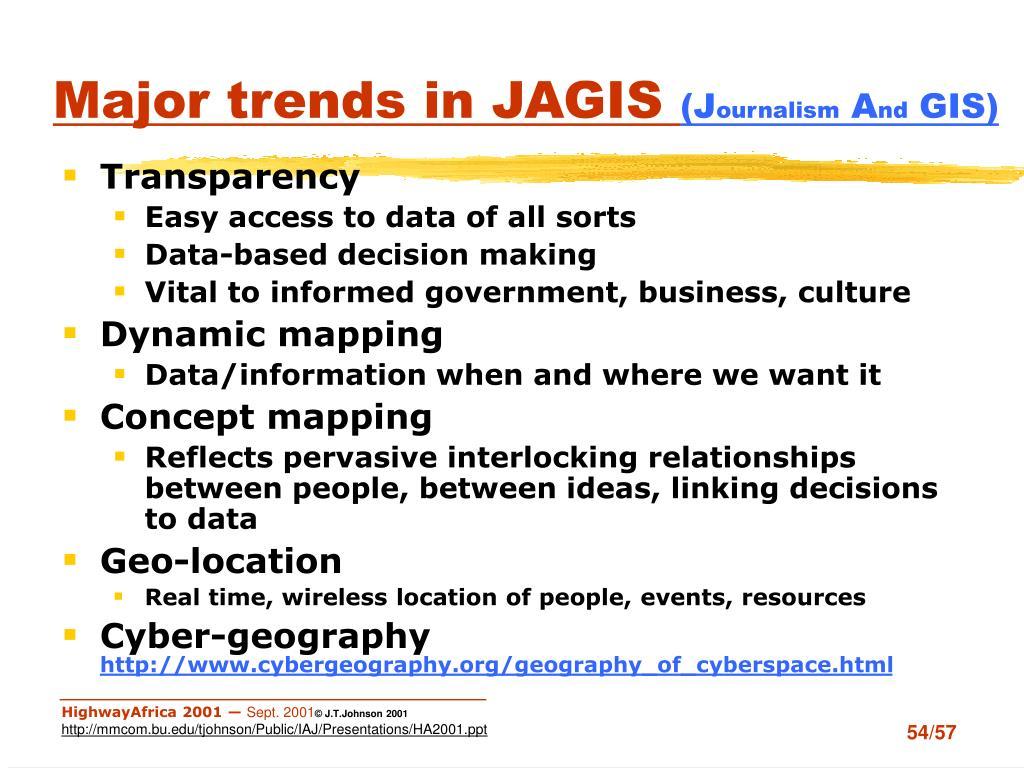 Major trends in JAGIS