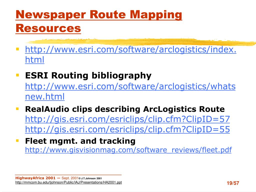 Newspaper Route Mapping Resources