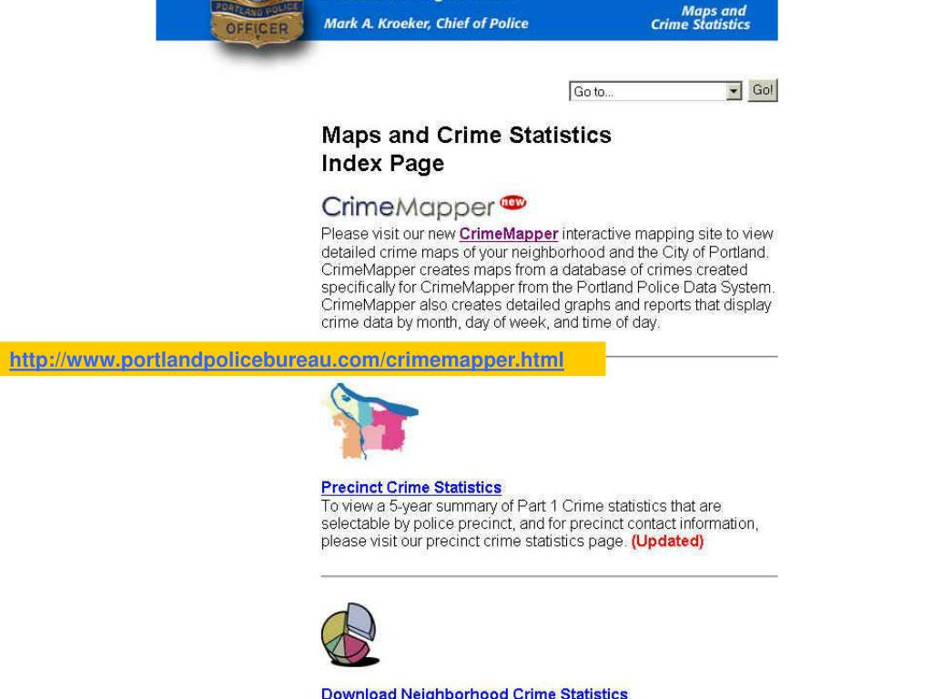 Portland, Oregon Crime Mapping Home page