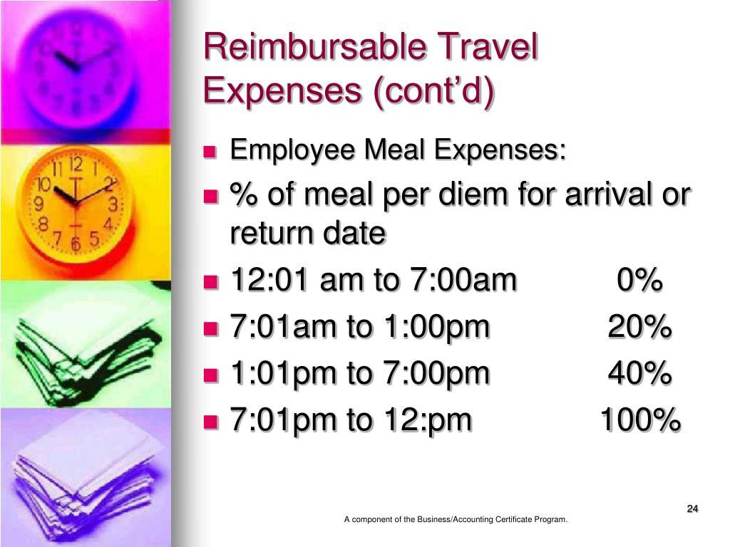 Reimbursable Travel Expenses (cont'd)