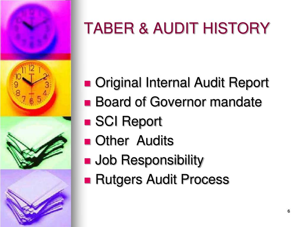 TABER & AUDIT HISTORY