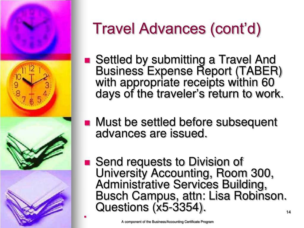 Travel Advances (cont'd)