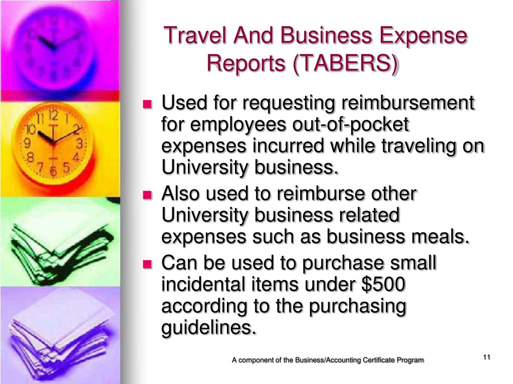 Travel And Business Expense 	  Reports (TABERS)