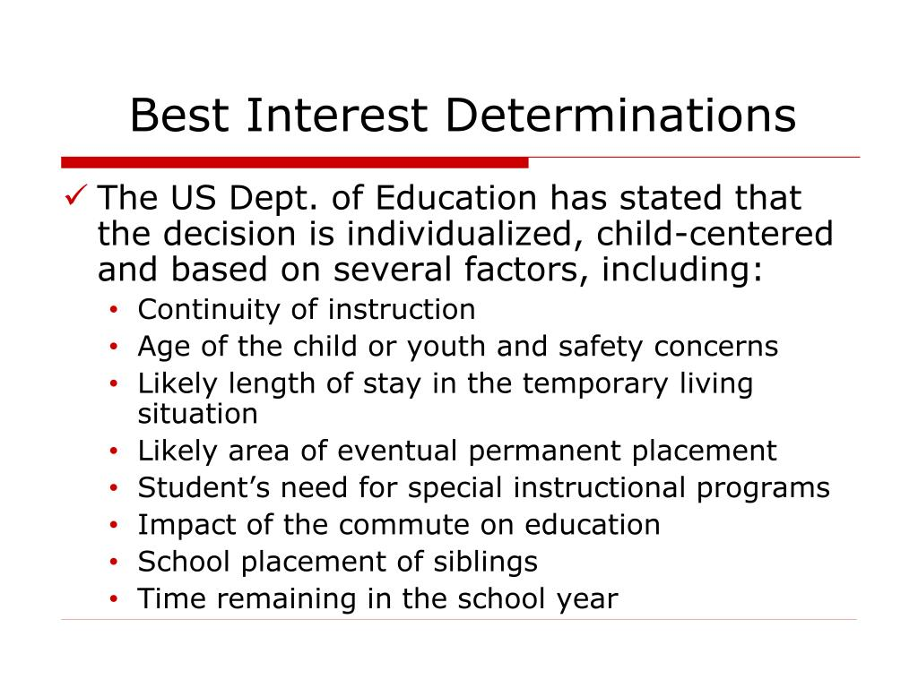 Best Interest Determinations