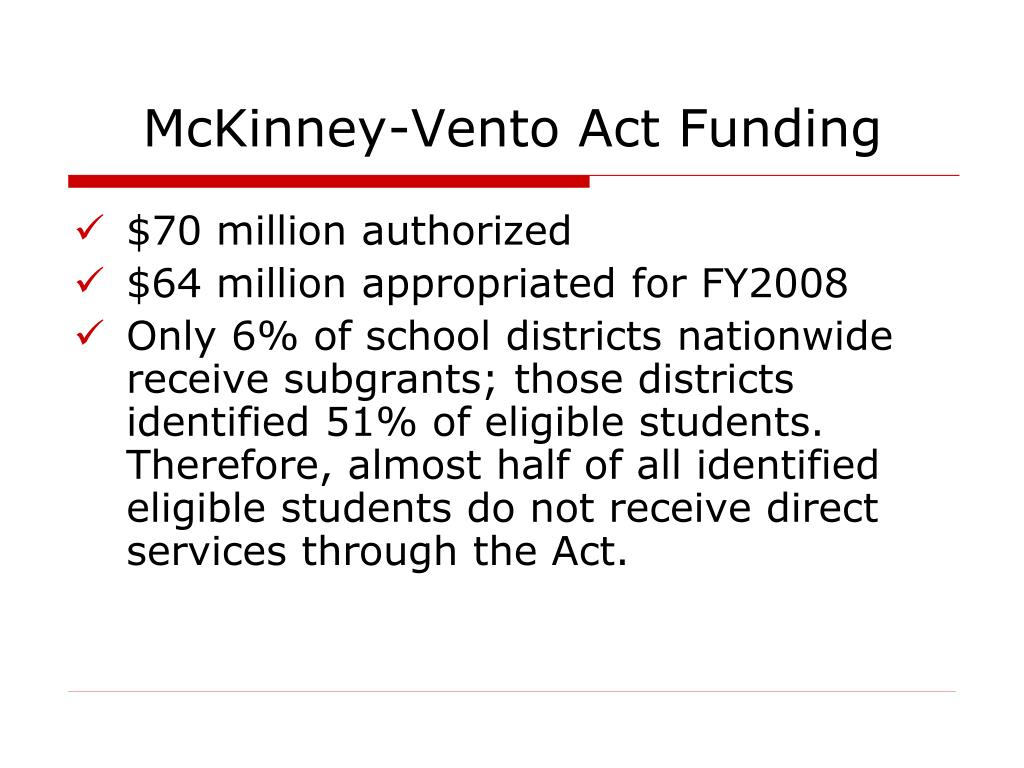 McKinney-Vento Act Funding