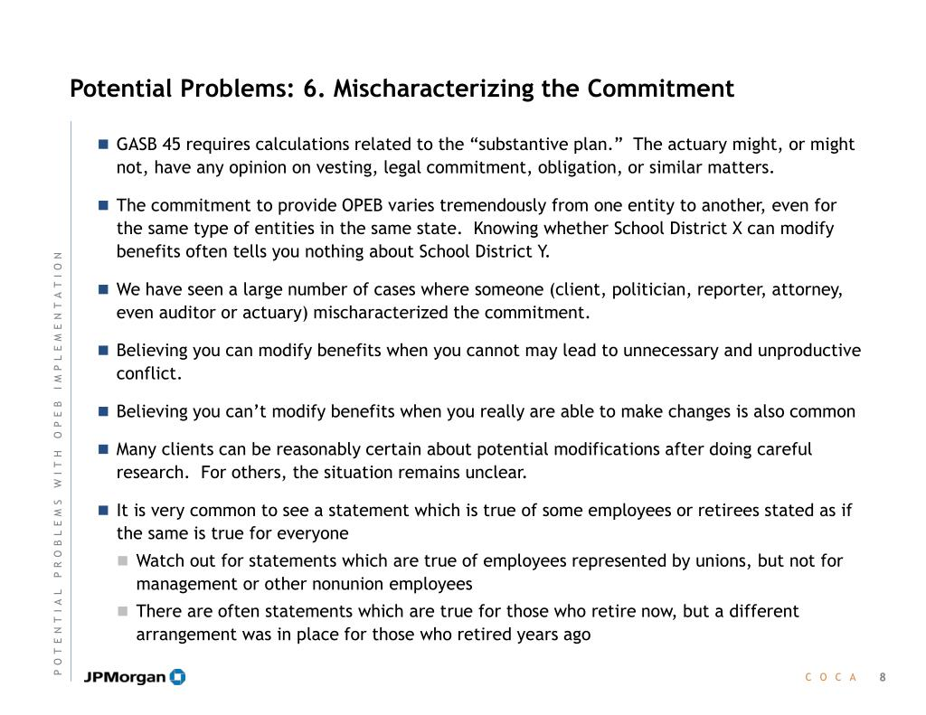 Potential Problems: 6. Mischaracterizing the Commitment
