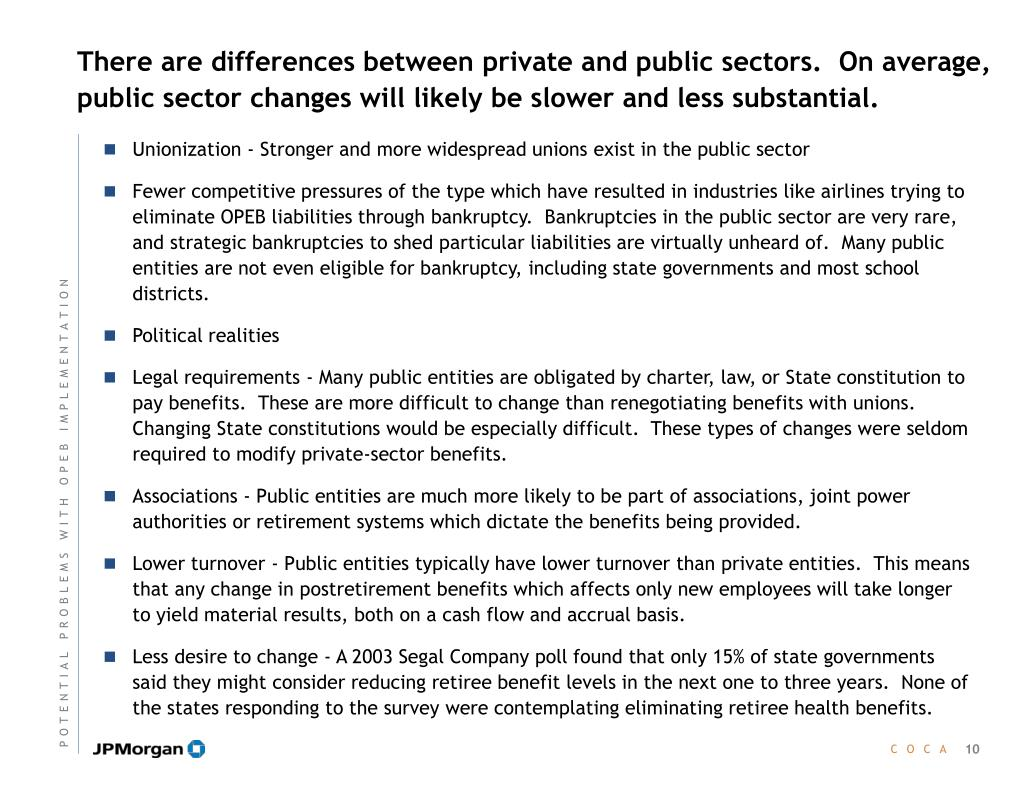 There are differences between private and public sectors.  On average, public sector changes will likely be slower and less substantial.