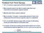 feedback from travel surveys