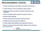 recommendations controls