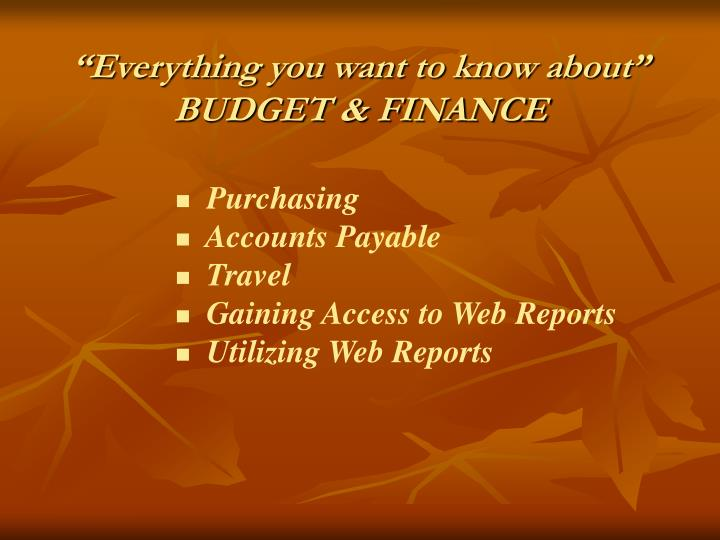 Everything you want to know about budget finance