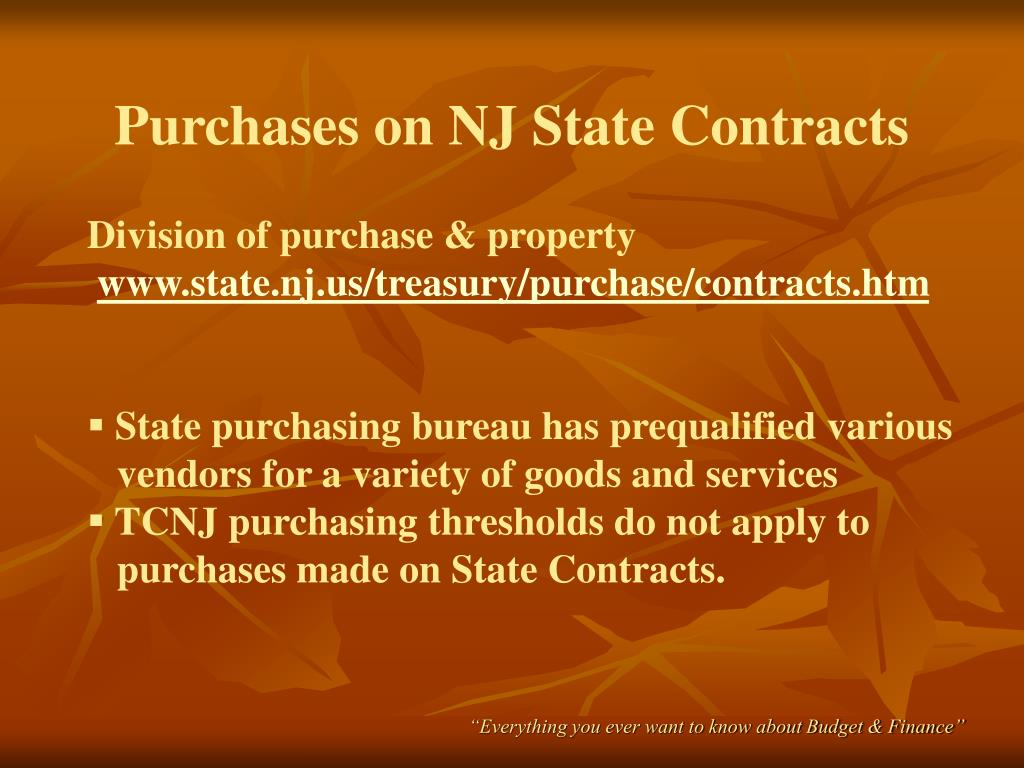 Purchases on NJ State Contracts