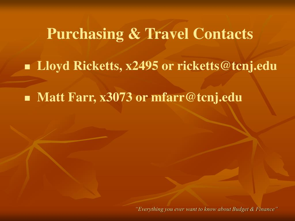 Purchasing & Travel Contacts