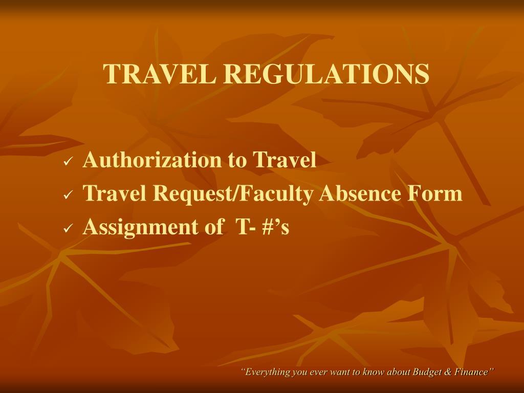 TRAVEL REGULATIONS