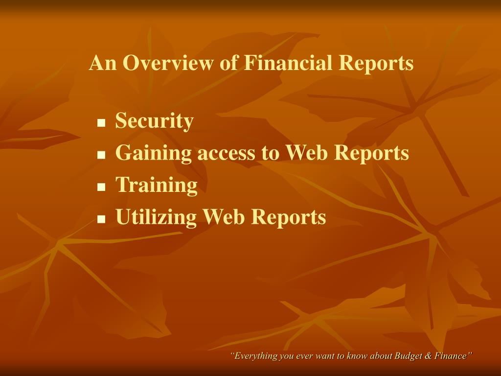 An Overview of Financial Reports