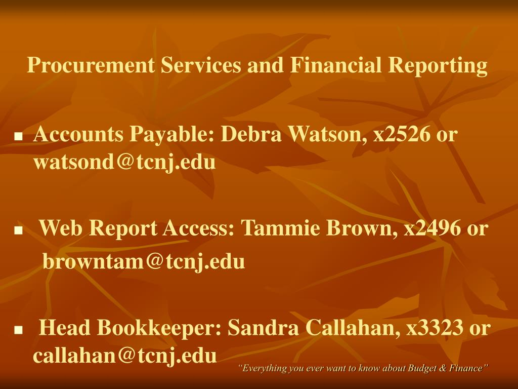 Procurement Services and Financial Reporting