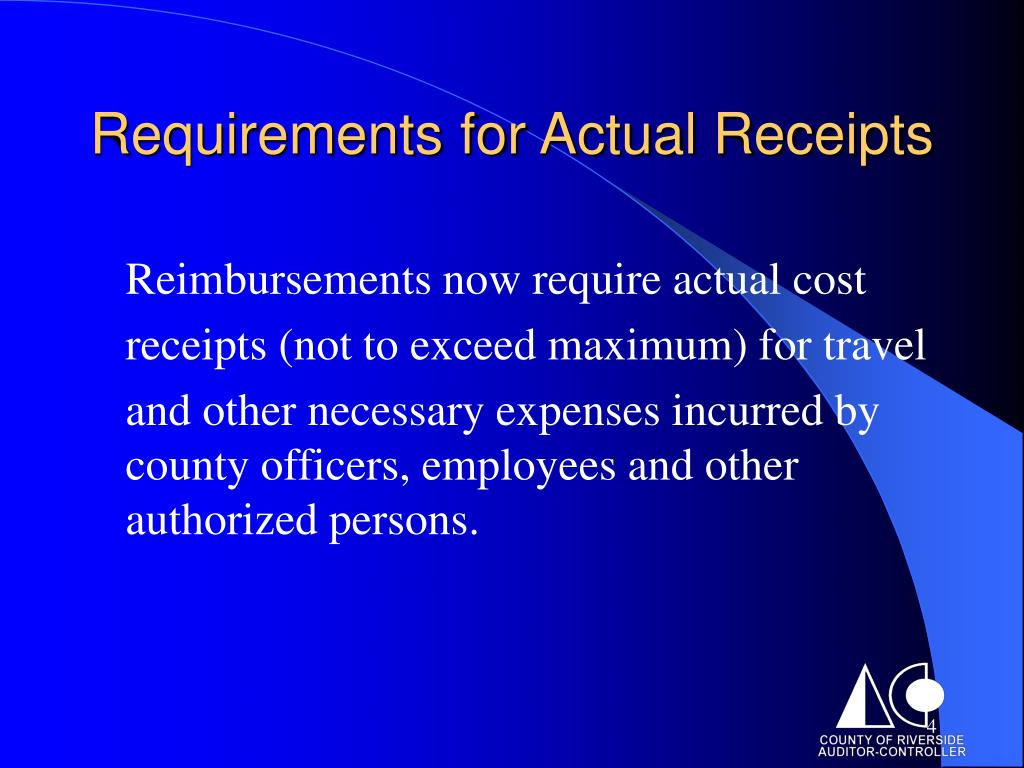 Requirements for Actual Receipts