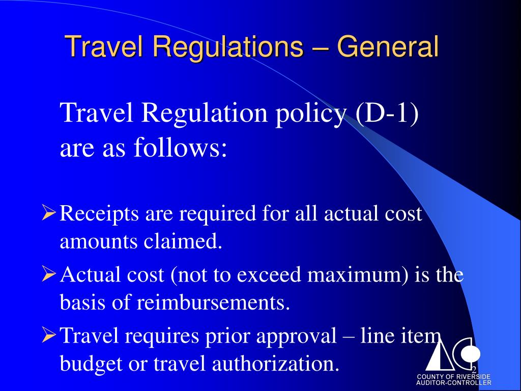 Travel Regulations – General