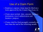 use of a claim form