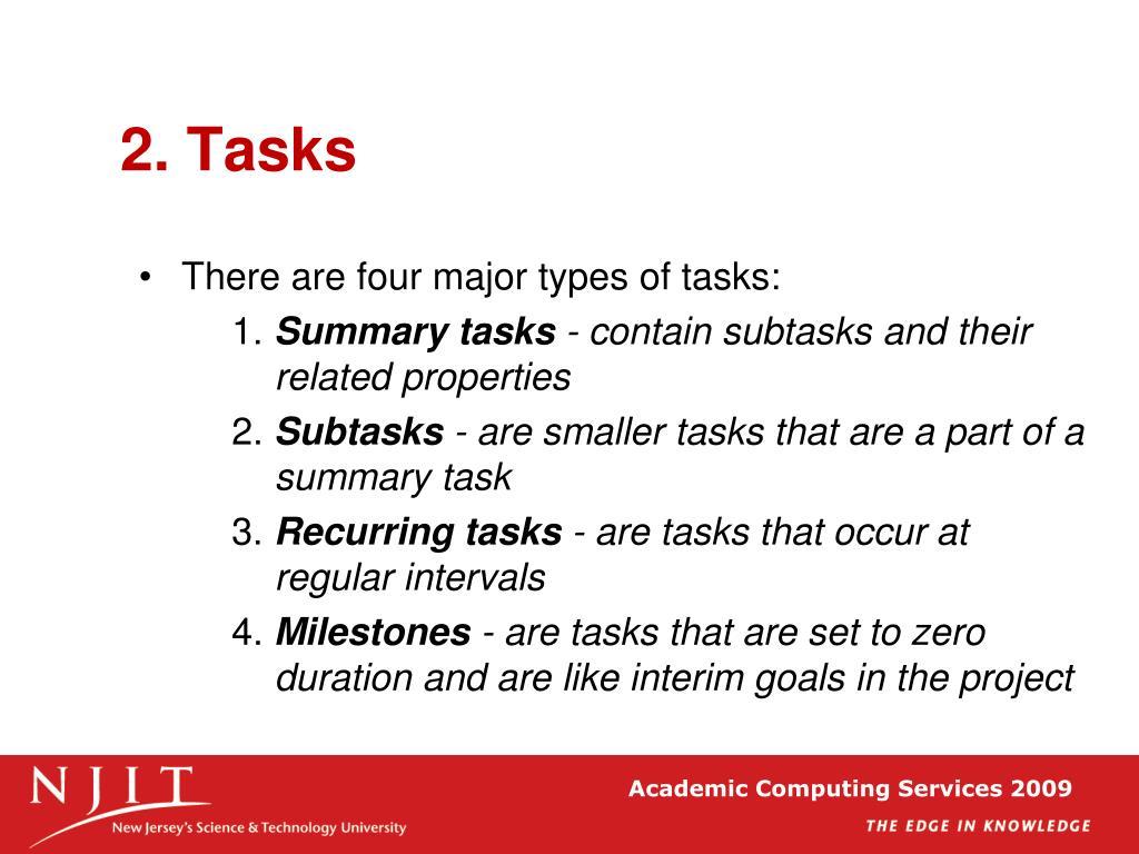 2. Tasks