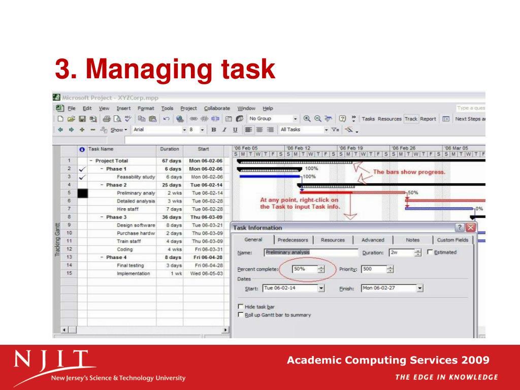 3. Managing task