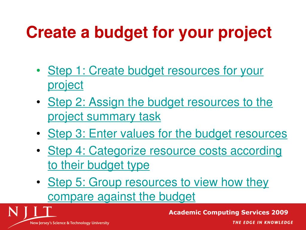 Create a budget for your project