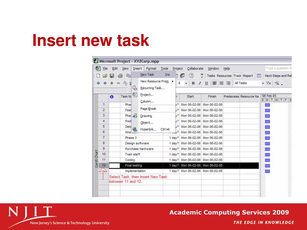 Insert new task
