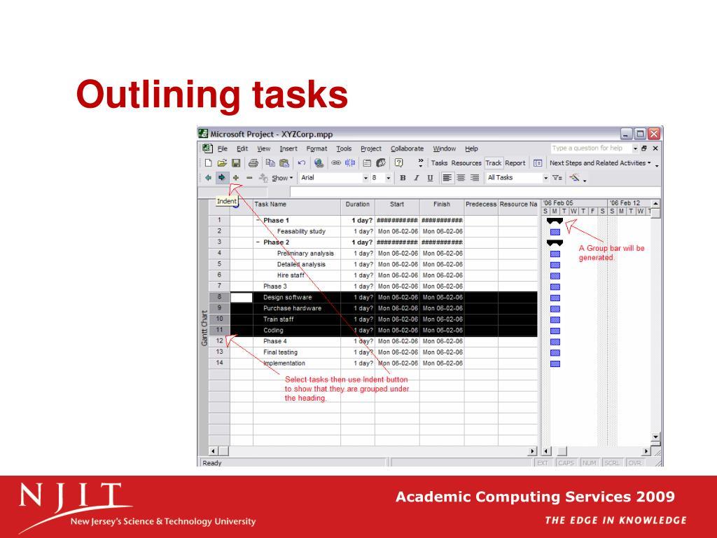 Outlining tasks