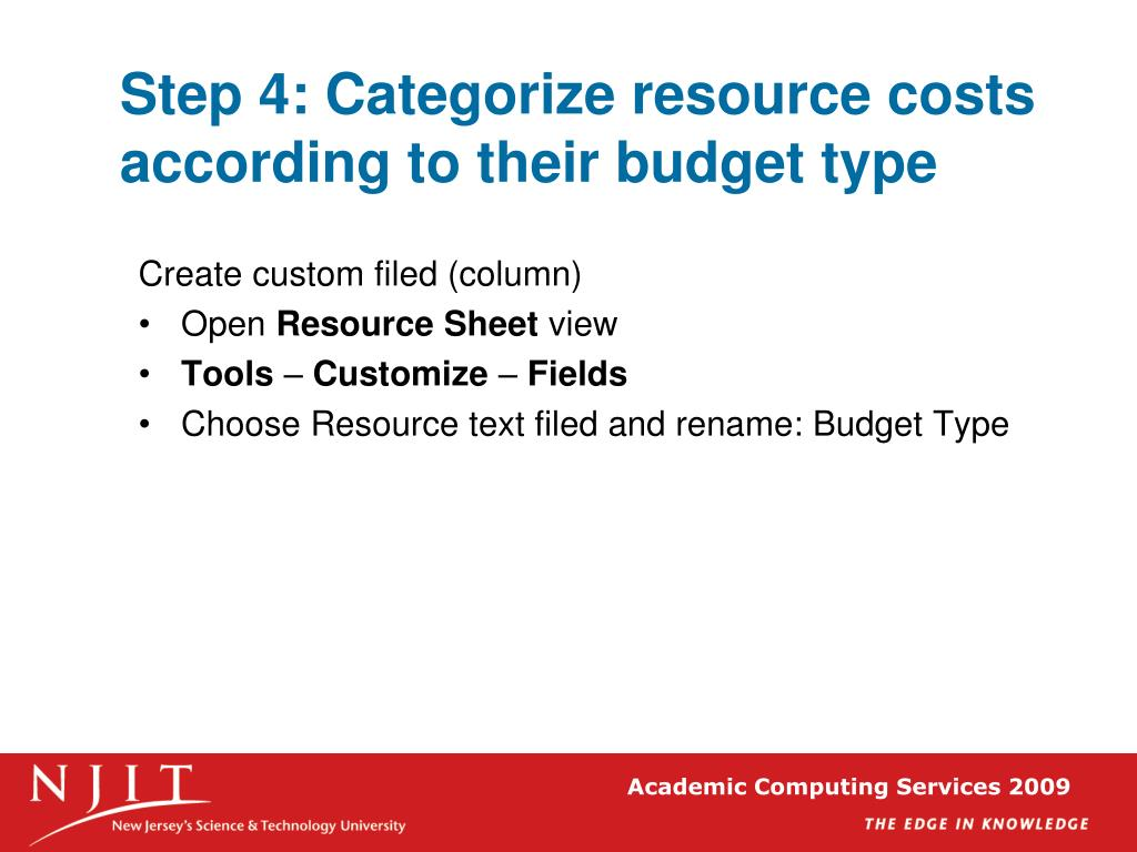 Step 4: Categorize resource costs according to their budget type
