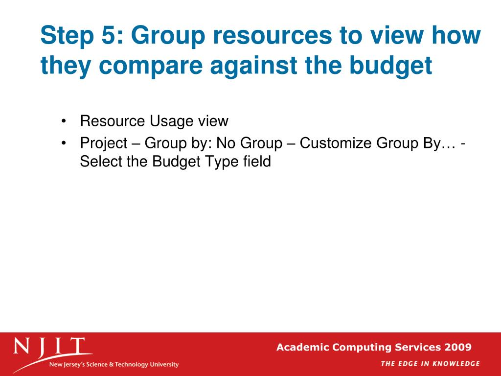 Step 5: Group resources to view how they compare against the budget