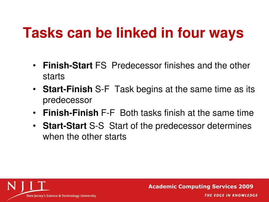 Tasks can be linked in four ways