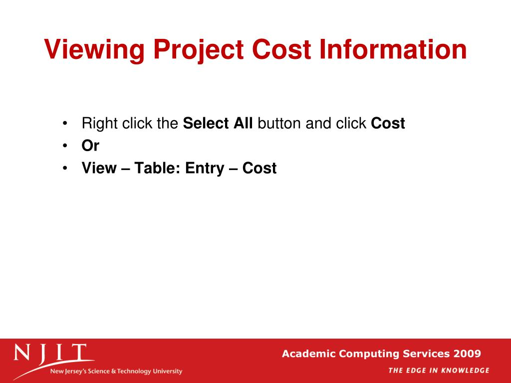 Viewing Project Cost Information