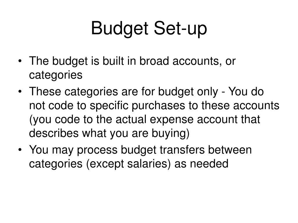 Budget Set-up