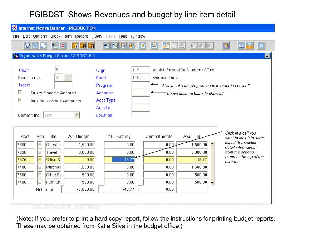 FGIBDST  Shows Revenues and budget by line item detail