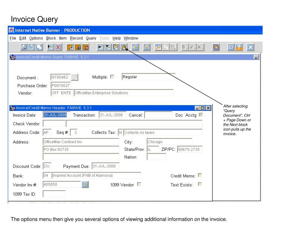 Invoice Query