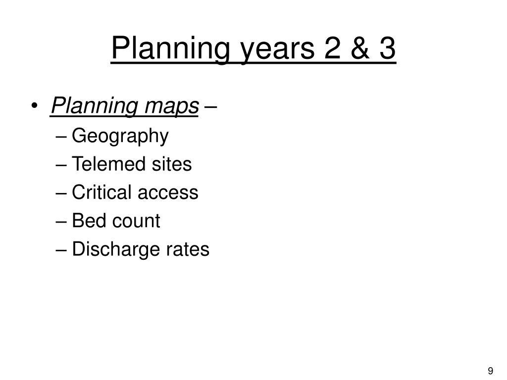 Planning years 2 & 3