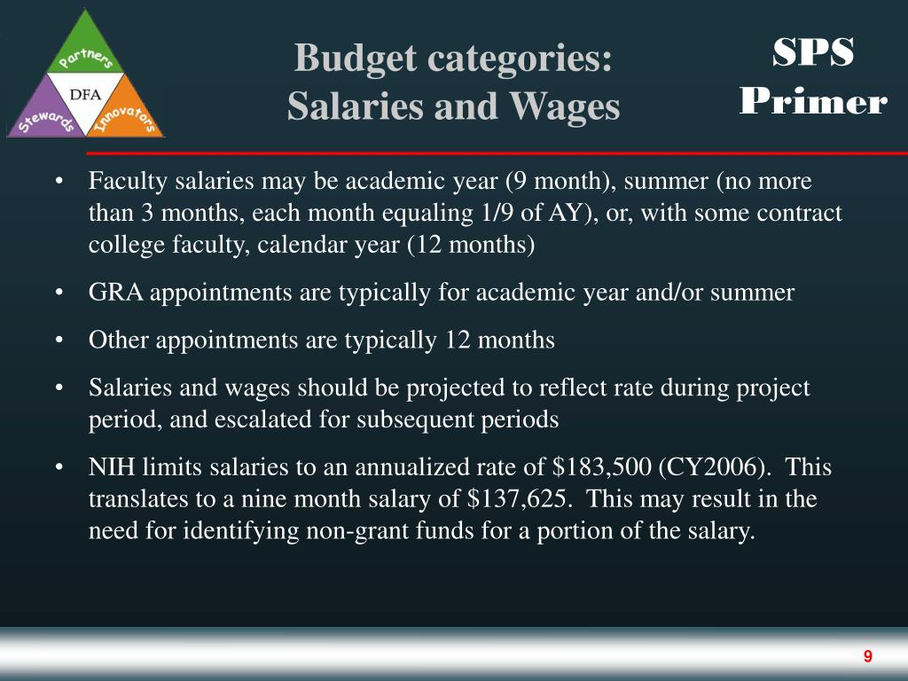 Faculty salaries may be academic year (9 month), summer (no more than 3 months, each month equaling 1/9 of AY), or, with some contract college faculty, calendar year (12 months)