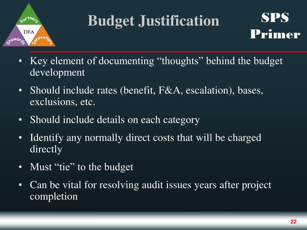 """Key element of documenting """"thoughts"""" behind the budget development"""