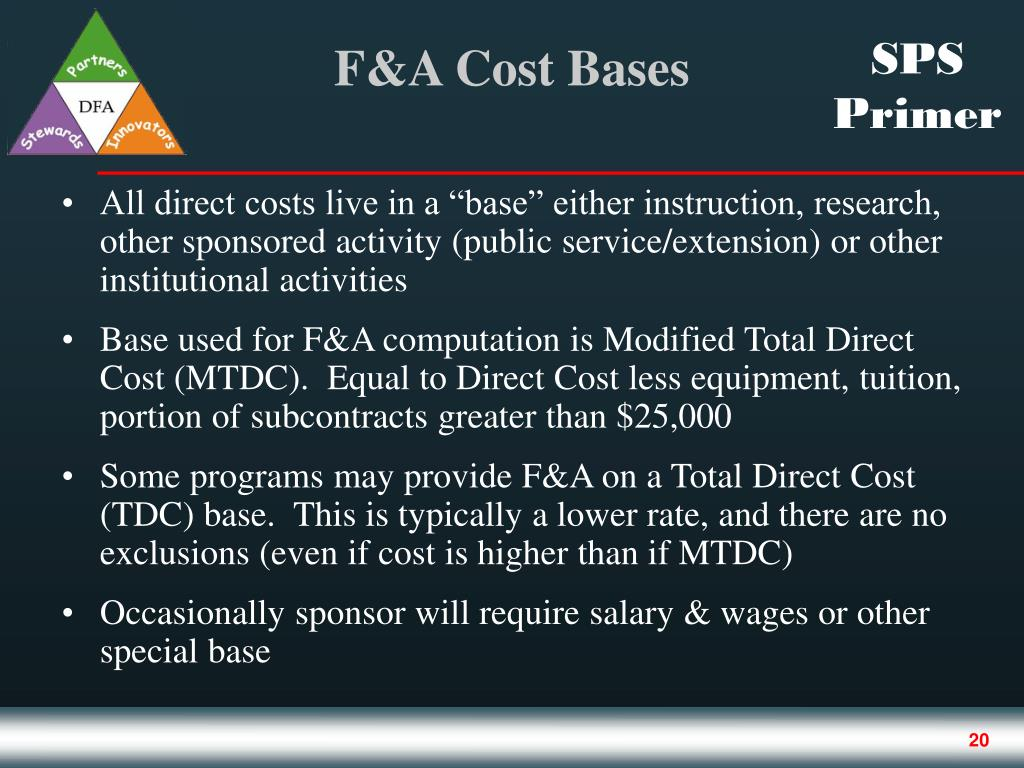 """All direct costs live in a """"base"""" either instruction, research, other sponsored activity (public service/extension) or other institutional activities"""