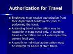 authorization for travel