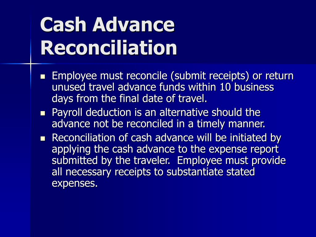 Cash Advance Reconciliation