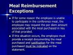 meal reimbursement exceptions