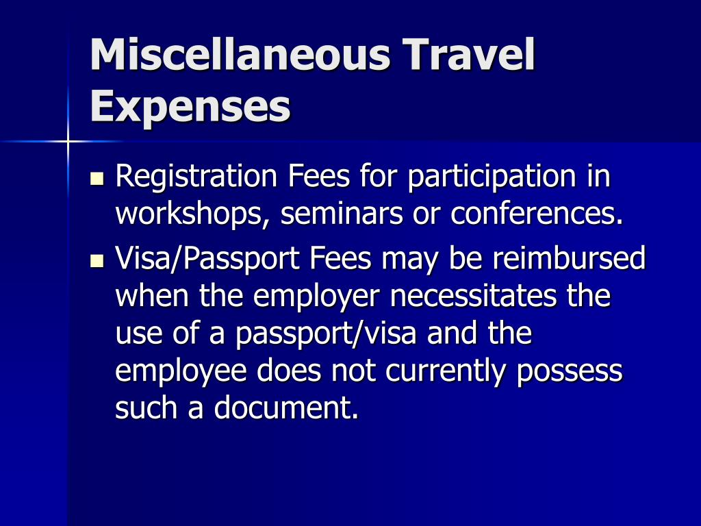Miscellaneous Travel Expenses