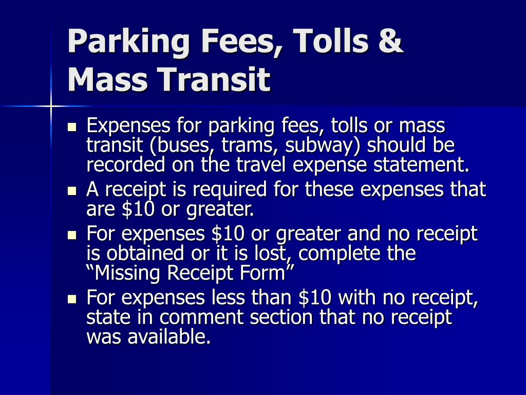 Parking Fees, Tolls & Mass Transit