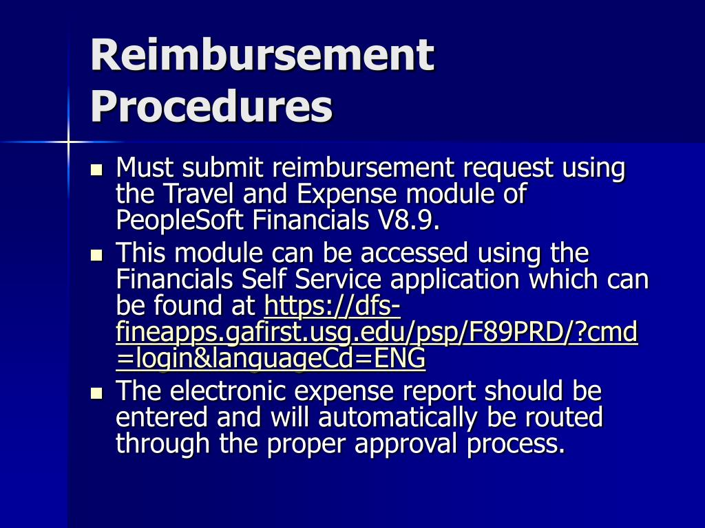 Reimbursement Procedures