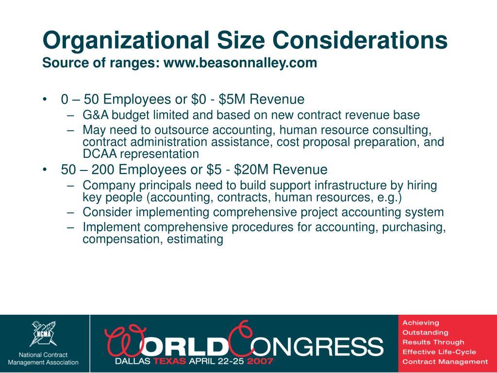Organizational Size Considerations