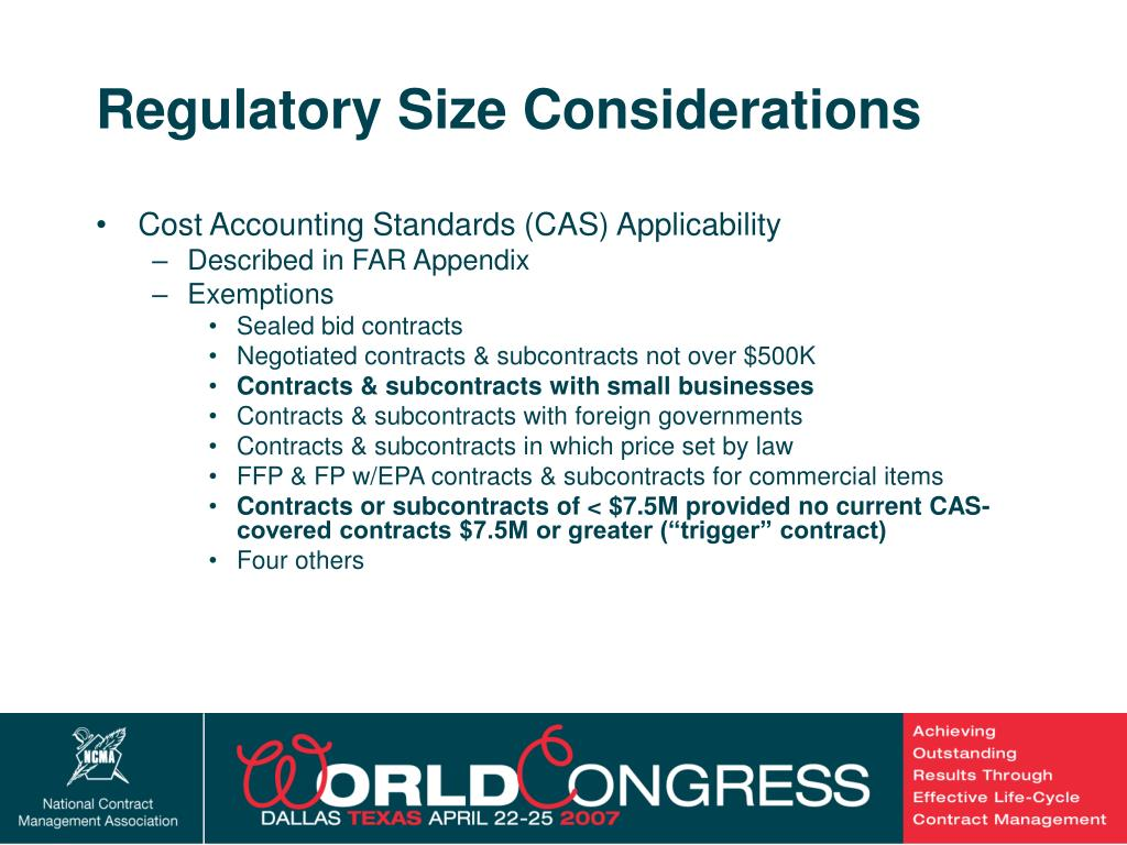 Regulatory Size Considerations