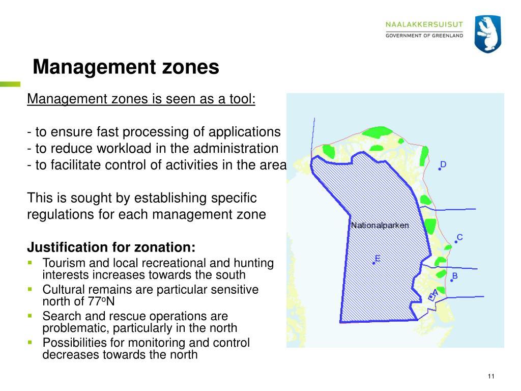 Management zones